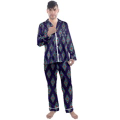Colorful Diamonds Pattern3 Men s Satin Pajamas Long Pants Set by bloomingvinedesign
