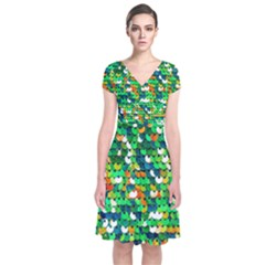 Funky Sequins Short Sleeve Front Wrap Dress by essentialimage