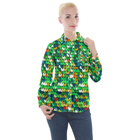 Funky Sequins Women s Long Sleeve Pocket Shirt by essentialimage