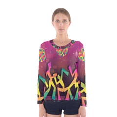 Dancing Colorful Disco Women s Long Sleeve Tee by Bajindul