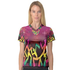Dancing Colorful Disco V Neck Sport Mesh Tee