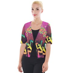 Dancing Colorful Disco Cropped Button Cardigan