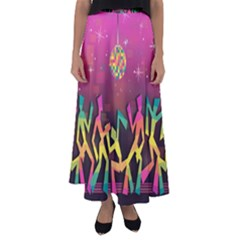 Dancing Colorful Disco Flared Maxi Skirt
