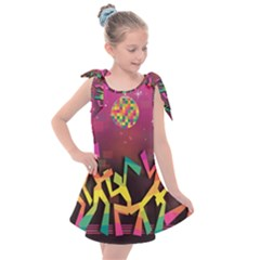 Dancing Colorful Disco Kids  Tie Up Tunic Dress by Bajindul