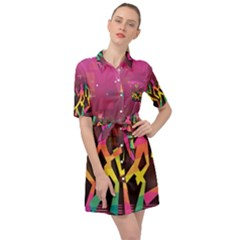 Dancing Colorful Disco Belted Shirt Dress by Bajindul