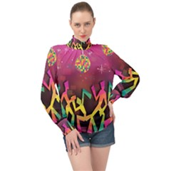 Dancing Colorful Disco High Neck Long Sleeve Chiffon Top by Bajindul