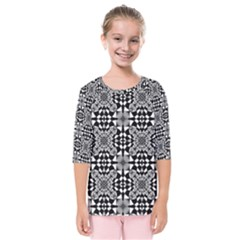 Fabric Geometric Shape Kids  Quarter Sleeve Raglan Tee