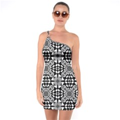 Fabric Geometric Shape One Soulder Bodycon Dress