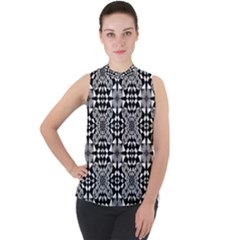 Fabric Geometric Shape Mock Neck Chiffon Sleeveless Top
