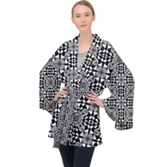 Fabric Geometric Shape Long Sleeve Velvet Kimono