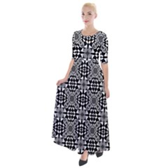 Fabric Geometric Shape Half Sleeves Maxi Dress by HermanTelo