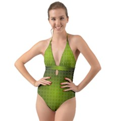 Hexagon Background Plaid Halter Cut Out One Piece Swimsuit