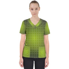 Hexagon Background Plaid Women s V Neck Scrub Top