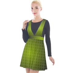 Hexagon Background Plaid Plunge Pinafore Velour Dress by Mariart