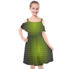 Hexagon Background Plaid Kids  Cut Out Shoulders Chiffon Dress
