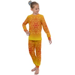Fractal Yellow Orange Kids  Long Sleeve Set  by Jojostore