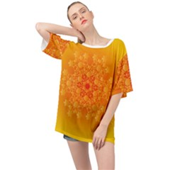 Fractal Yellow Orange Oversized Chiffon Top