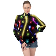Fireworks Star Light High Neck Long Sleeve Chiffon Top by AnjaniArt