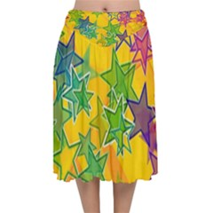 Star Homepage Abstract Velvet Flared Midi Skirt by Alisyart