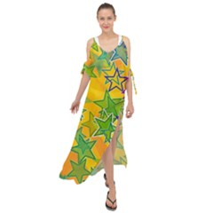 Star Homepage Abstract Maxi Chiffon Cover Up Dress
