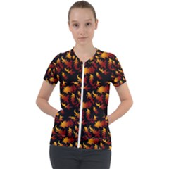 Abstract Flames Pattern Short Sleeve Zip Up Jacket