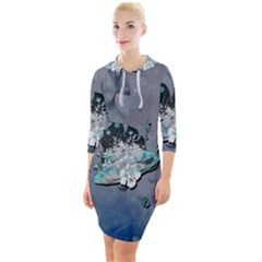 Sport, Surfboard With Flowers And Fish Quarter Sleeve Hood Bodycon Dress by FantasyWorld7