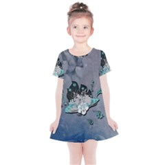 Sport, Surfboard With Flowers And Fish Kids  Simple Cotton Dress by FantasyWorld7