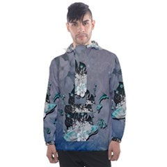 Sport, Surfboard With Flowers And Fish Men s Front Pocket Pullover Windbreaker by FantasyWorld7
