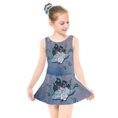 Sport, Surfboard With Flowers And Fish Kids  Skater Dress Swimsuit