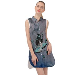 Sport, Surfboard With Flowers And Fish Sleeveless Shirt Dress by FantasyWorld7