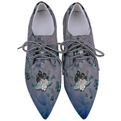 Sport, Surfboard With Flowers And Fish Women s Pointed Oxford Shoes by FantasyWorld7