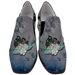 Sport, Surfboard With Flowers And Fish Women Slip On Heel Loafers by FantasyWorld7
