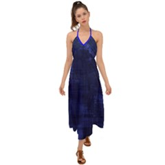 Blue Grunge Halter Tie Back Dress  by retrotoomoderndesigns