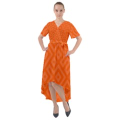 Orange Maze Front Wrap High Low Dress