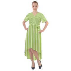 Lime Stripes Front Wrap High Low Dress by retrotoomoderndesigns