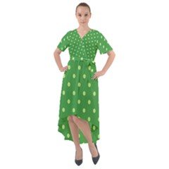 Green Polka Dots Front Wrap High Low Dress by retrotoomoderndesigns
