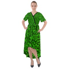 Green Mosaic Front Wrap High Low Dress by retrotoomoderndesigns