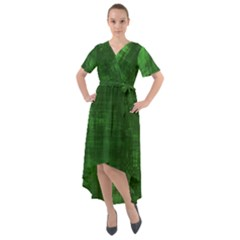 Green Grunge Front Wrap High Low Dress by retrotoomoderndesigns