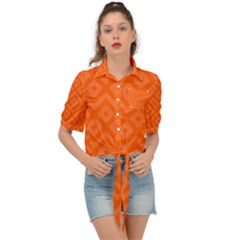 Orange Maze Tie Front Shirt