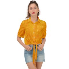 Sunshine Orange Tie Front Shirt  by retrotoomoderndesigns