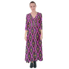 Colorful Diamonds Variation 4 Button Up Maxi Dress