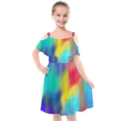 Soft Color Blend Kids  Cut Out Shoulders Chiffon Dress by bloomingvinedesign