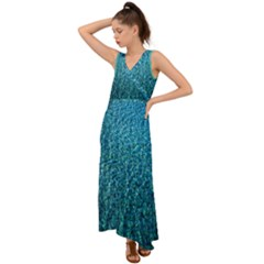 Turquoise Blue Ocean V-Neck Chiffon Maxi Dress