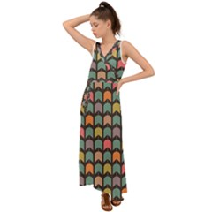 Zappwaits V Neck Chiffon Maxi Dress