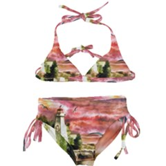 Lighthouse Ocean Sunset Seagulls Kids  Classic Bikini Set