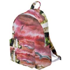 Lighthouse Ocean Sunset Seagulls The Plain Backpack