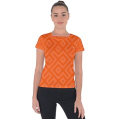 Orange Maze Short Sleeve Sports Top