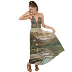 Glacier National Park Scenic View Backless Maxi Beach Dress