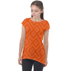 Orange Maze Cap Sleeve High Low Top