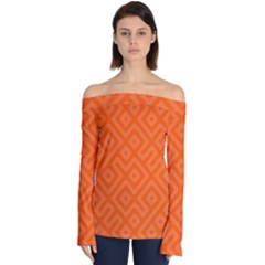 Orange Maze Off Shoulder Long Sleeve Top